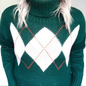 Green Tommy Hilfiger Turtleneck Sweater